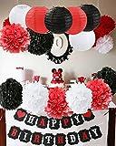 Mickey Mouse Geburtstag Party Dekorationen Weiß Rot Schwarz Geburtstag Party Dekorationen Minnie Mouse Party Supplies Seidenpapier Pom Pom Blumen Papierlaternen für alles Gute zum Geburtstag Dekoratio