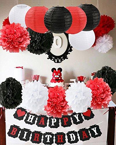 tag Party Dekorationen Weiß Rot Schwarz Geburtstag Party Dekorationen Minnie Mouse Party Supplies Seidenpapier Pom Pom Blumen Papierlaternen für alles Gute zum Geburtstag Dekoratio (Banner Minnie Mouse)