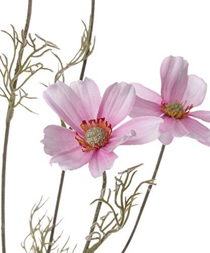 artplants Künstliches Schmuckkörbchen MALIE, 6 Blüten, Hellrosa, 75 cm, Ø 8 cm – Kosmee Blume/Kunstblumen
