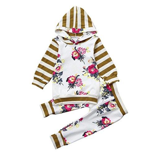 (Baby Kleidung Set,BeautyTop 2Pcs Kleinkind Infant Neugeborenes Baby Mädchen Kleidung Set Blumentasche Hoodie Sweatshirt Bluse Tops + Hosen Outfits (80/6-12 Monat, Weiß))