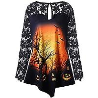 JYC Sudaderas para Mujer,Mujer Moda Halloween Calabaza Cordón Labor de,Retazos Asimétrico Camiseta Tops Blusa