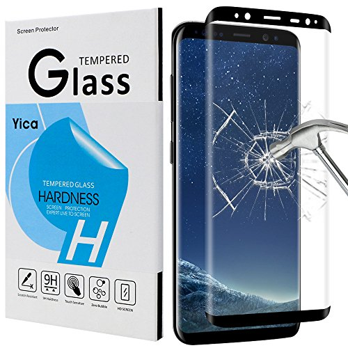 Galaxy S8 Screen Protector, Yica Full Coverage Samsung Galaxy S8 Tempered Glass Screen Protector Film [Case Friendly] [Bubble Free] [Touch Sensitive] for Galaxy S8