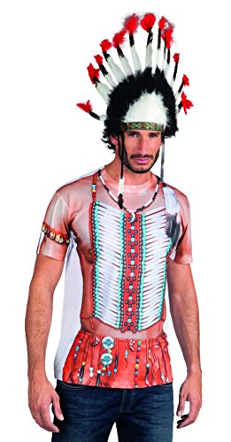 Indianer Kostüm T Shirt - Boland 84229 - Fotorealistisches Shirt Indian,