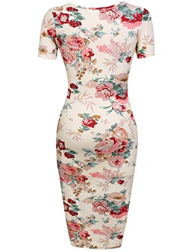 HOTOUCH Damen Etuikleid Vintage Kleid Cocktailkleid Midikleid Bleistift Kleid Rockabilly Kleid Festliche Bodycon Enges Kleid Mit Blumendruck Typ1-Beige