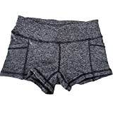 Encounter Weiche Bequeme Stil Yoga Workout Kurze Fitness Elasthan Mini Shorts Hot Pants Hose (L, Grau)