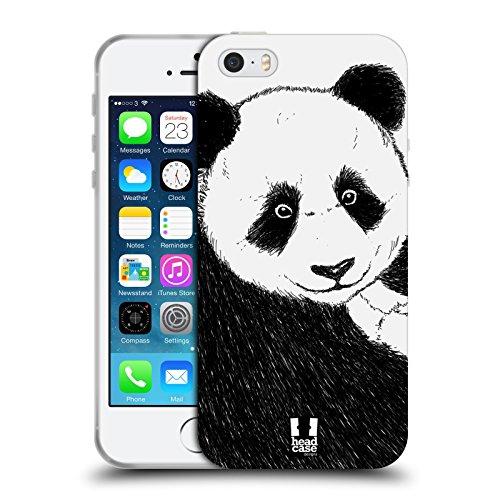 Head Case Designs Penguin Sketch Handgezeichnete Tiere Soft Gel Hülle für Apple iPhone 7 / iPhone 8 Panda Sketch