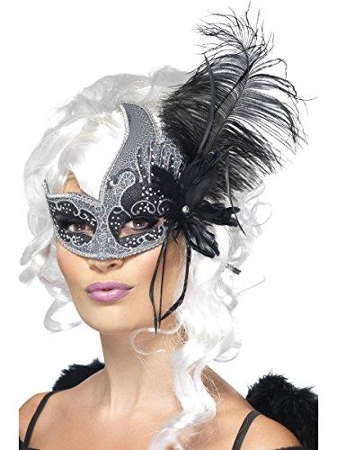 Augenmaske dunkler Engel silber-schwarz Karneval Fasching (Accessoires Dunkler Halloween Engel Kostüme)