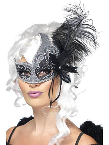 Augenmaske dunkler Engel silber-schwarz Karneval Fasching Halloween