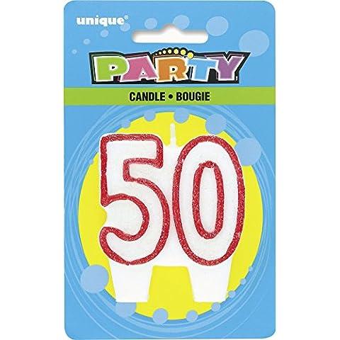 Rojo Blanco 50 cumpleaños fiesta de cumpleaños de la torta de la vela con brillo