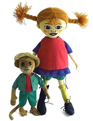 Preisvergleich Produktbild Pipi Pippi Langstrumpf und Herr Nilsson Äffchen Puppe aus Stoff Setangebot