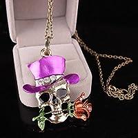 OUTGEEK Costume de Halloween Accessoire Rhinestone Squelette Skull Rose Pendentif Pendentif Bijoux avec Boîte Cadeau