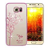Samsung Glaxy S6 Edge Hülle,EMAXELERS Hard PC Case Phone Holster Transparent Handy-Tasche Hülle für Samsung Glaxy S6 Edge Hülle Löwenzahn Pattern Etui Schlank Fest Hülle Diamond Bling Telefon-Kasten Schutzhülle,Pink Tree