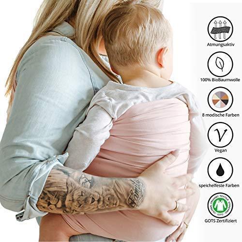 Shabany® – Ring Sling Tragetuch – 100% Bio Baumwolle – Für Neugeborene Kleinkinder bis 15 KG – inkl. Baby Wrap Carrier Anleitung – rosa (cuddles) - 6
