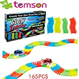 TEMSON Magic Race Tracks-Flexible and Bendable Glow in Dark Race Twister Track Set