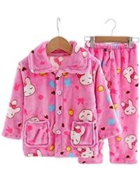 Flannel Niños pijama traje de dormir suave Velvet Sleepwear Nightcloth, conejo