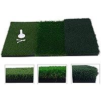 """FreeTec Golf Übungsmatte Trainingsmatte 3 UnterschiedlichenOberflächen Kunstrasen (25"""" x 16"""") Tragbare Abschlagmatte inkl. Gummi Tee"""
