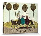1art1 83599 Sam Toft - Mr Mustard, Mrs Mustard, Doris und Freunde, Eine schöne Fahrradtour Poster Leinwandbild Auf Keilrahmen 50 x 40 cm