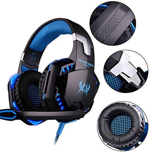 Over-Ear Headset mit Mikrofon Futurepast DJ Kopfhörer Gaming Headset Audio Stereo mit LED für PC PS4 Xbox ONE Tablet, Smartphone.