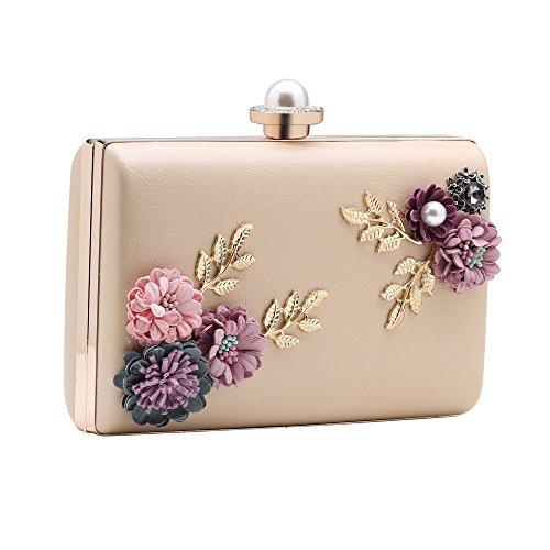 Babeyond Damen Clutch Elegante Blumen Zweig Muster Handtasche Abend