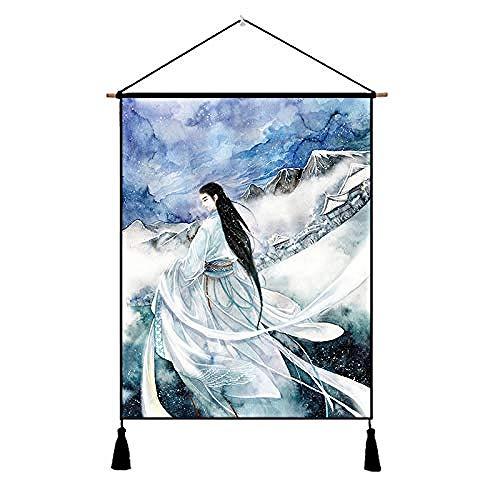 shimengran Leinwand Wandbild Abstraktes Gemälde Home Ancient Kostüm, Anime Stoff, Malerei, Chinesische Studie, Wohnzimmer, Dekorative Malerei (Chinesische Anime Kostüm)