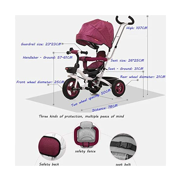 BGHKFF 4 In 1 Childrens Folding Tricycle 6 Months To 5 Years Rear Wheel With Brake Folding Trike 360° Swivelling Saddle Folding Sun Canopy Childrens Tricycles Maximum Weight 25 Kg,Purple BGHKFF ★Material: Steel frame, suitable for children from 6 months to 5 years old, the maximum weight is 25 kg ★ 4 in 1 multi-function: can be converted into baby strollers and tricycles. Remove the hand putter and awning, and the guardrail as a tricycle. ★Safety design: golden triangle structure, safe and stable; front wheel clutch, will not hit the baby's foot; guardrail; rear wheel double brake 5