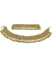 Jewels Gold Alloy Pleasant Gold Plated Studding Diamond Payal Anklet For Women & Girls