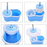 #5: Easy Magic Floor Spin Mop 360° Bucket with 2 Microfiber Heads Spinning Rotating - Blue / Pink