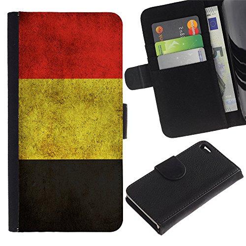 Graphic4You Vintage Uralt Flagge Von Italien Design Brieftasche Leder Hülle Case Schutzhülle für Apple iPhone 4 und 4S Belgien Belgisch