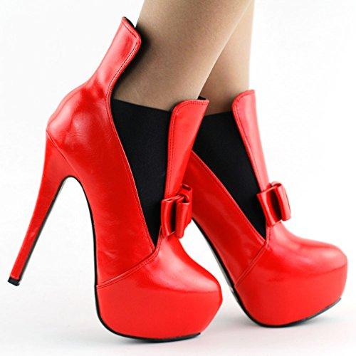 Visualizza Lady Story rosso/blu fiocco bicolore tacco a spillo partito Ankle Bootie, LF80830 Rosso