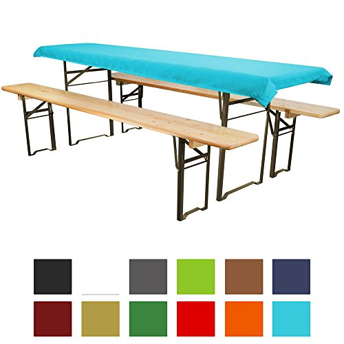 Tischdecke für Bierzeltgarnitur - 90x240 cm (für Tischbreite 70 cm) türkis