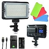 VILTROX VL-162T Lumière Vidéo LED Bicolore 3300K-5600K CRI95+ Dimmable Studio Photo Eclairage pour Caméra Caméscope avec Batterie et Chargeur