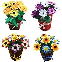 Dsaren Set de Costura para Niños Actividades Creativas Kits de Fieltro Tela Artesanal Bricolaje Flor en Maceta (Paquete de 4)