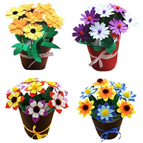 Dsaren Kits de Couture Loisirs Créatifs Enfant Debutant Kit d'artisanat Bricolage Fleur en Pot (Paquet de 4)