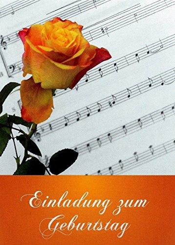 Einladungskarten Geburtstag für Erwachsene Mann und Frau mit Innentext Motiv: Rose Noten 10 Klappkarten DIN A6 mit weißen Umschlägen im Set Geburtstagskarten mit Kuvert Einladung Geburtstag (K20)