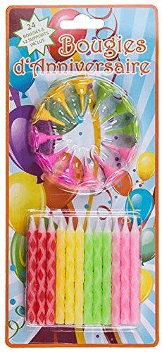 Out of the blue 24 Bougies d'anniversaire avec 12 Supports en matière Plastique, env. 0,5 x 5,8 cm,