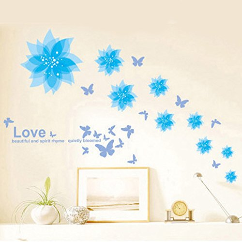 yuopin Pegatina Pared removibles Vinilo Decorativo Adhesivo Creativo Rodapié Decoración Para Hogar Dormitorio Cama Ventana papel pintado (Blue Lotus)