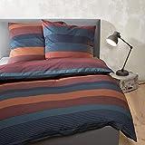 Bugatti Bettwäsche 135x200cm, Mako-Satin, Baumwolle, blau orange, 2 teiliges Set aus Bettbezug 135x200 und Kissenhülle 80x80cm, Reißverschluss