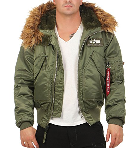 Alpha Industries Herren Daunenjacke Mantel 45 P Hooded Oliv