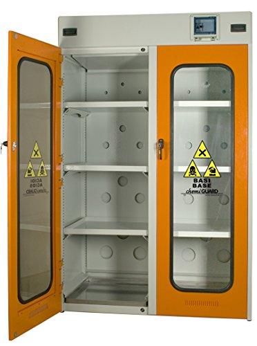 MOMOLINE CMGV-120-BASE CHEMIGUARD BASE Armoire de Sécurité pour le Stockage de Produits Chimique, Un Seul Compartiment, Porte Vitrée avec Fenêtre en Lexan, Orange
