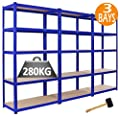 3 x Racking Bays 90cm x 180cm x 45cm 5 TIER SHELVING BAYS STORAGE SHELF UNIT WAREHOUSE GARAGE HEAVY DUTY BOLTLESS STEEL RACKING FREE MALLET ...