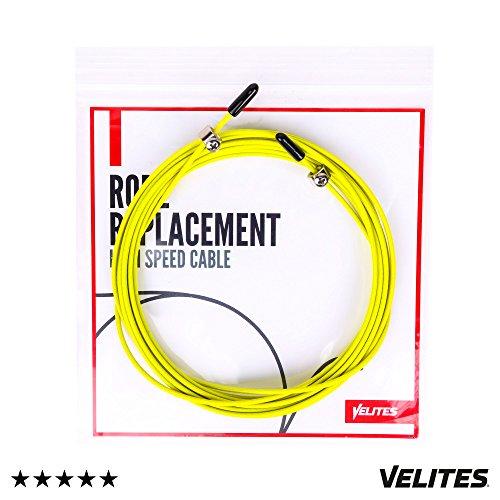 Cable de repuesto para comba de saltar de Cross Training, Fitness y Boxeo por VELITES | PVC Amarillo y acero de 2 mm | Para entrenamiento regular | Mejora tus saltos dobles | Compatible con otras marcas.
