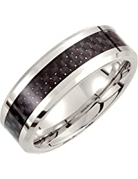 Cobalt Chrome, Flat Beveled Wedding Band with Carbon Fiber Inlay (sz N to Z3)