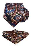 HISDERN Panuelo de lazo de boda Paisley floral Panuelo de corbata de hombre y conjunto de bolsillo cuadrado Naranja / azul marino