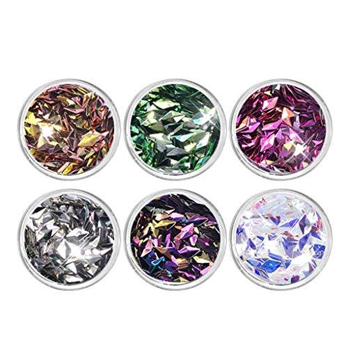 B Blesiya 6 Boxen Glitzer-Staub Nail Art Glitter Metallische Pailletten Aufkleber für Make-up und Nagelkunst