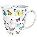 Ambiente Große Porzellan Tasse Becher Teetasse Mug 0,4 L Butterly Butterflies White Weiss Bunt Fine Bone China