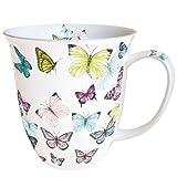 Ambiente Große Porzellan Tasse Becher Teetasse Mug 0,4 L Butterly Butterflies White Weiss Bunt Fine Bone China