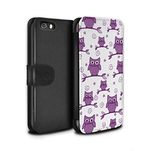 Stuff4 Coque/Etui/Housse Cuir PU Case/Cover pour Apple iPhone 5/5S / Rouge/Blanc Design / Motif Hibou Collection Violet/Blanc