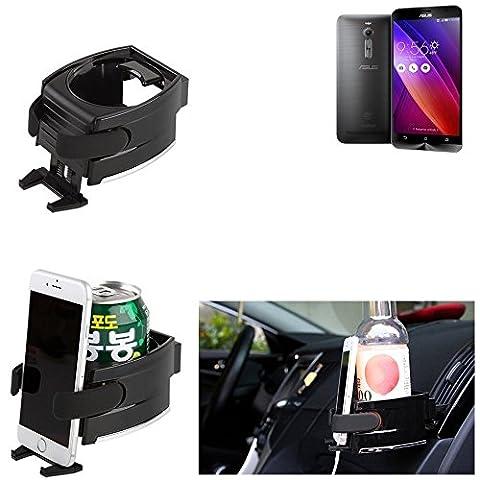 Titulaire Smartphone pour la voiture pour Asus ZenFone 2 2GB RAM, noir | Support Porte-Gobelet voiture Tasse Bouteille Car Air Ventilation Mount Cup Pliable Boisson canette fixe aerations - K-S-Trade(TM)