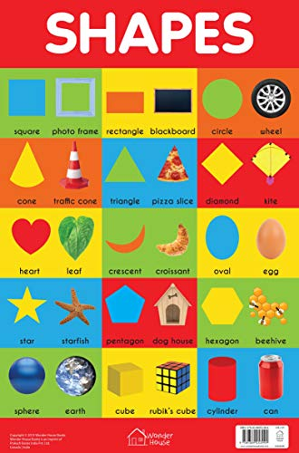Shapes Chart - Early Learning Educational Chart For Kids: Perfect For Homeschooling, Kindergarten and Nursery Students (11.5 Inches X 17.5 Inches)