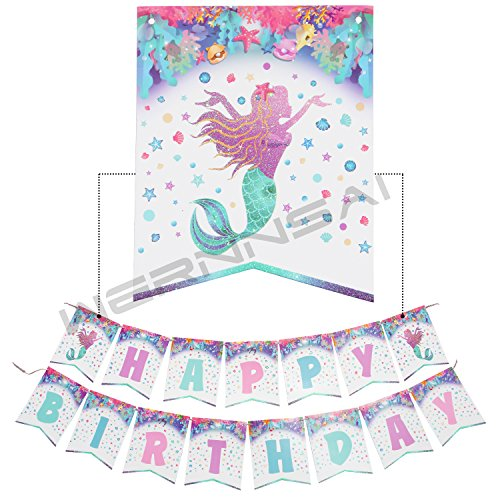 WERNNSAI Geburtstagsdeko Kleine Meerjungfrau Banner Happy Birthday Funkelnd Geburtstag Girlande Magische Bunting Flagge Partyzubehör für Kinder Mädchen